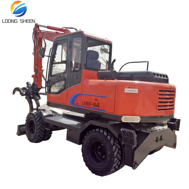 China Top Brand 9 ton Excavator Cheap Price Wheel Excavator with Log Grapple