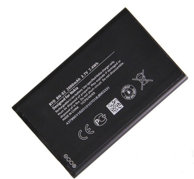 3.7V 2000mAh mobile phone battery bn-02 for nokia XL RM1061 RM1042 XL4g RM-1030