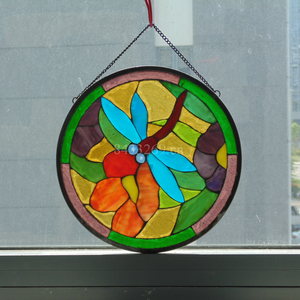 2019 new year chinese tiffany style stained window glass for sale