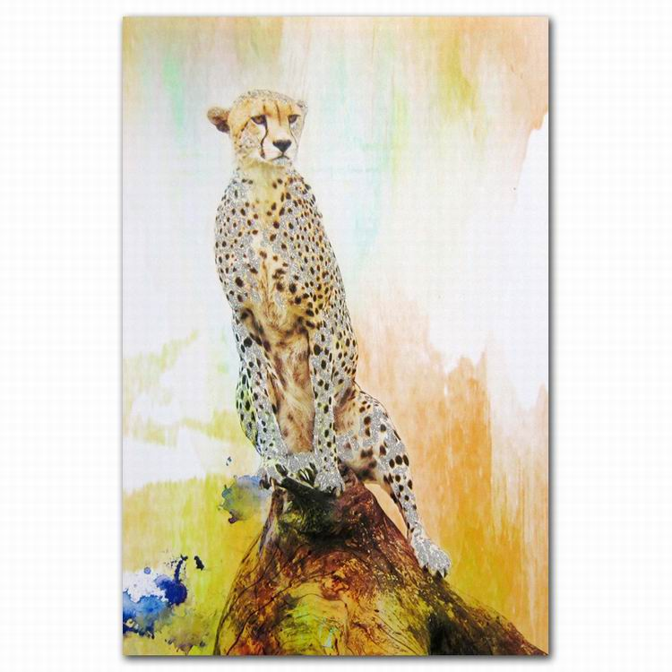 Pop own canvas art yellow african animal cheetah on stone <strong>picture</strong> abstract