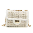 China wholesale chain handbag new velvet material casual white shoulder fashion fur small square ladies bag