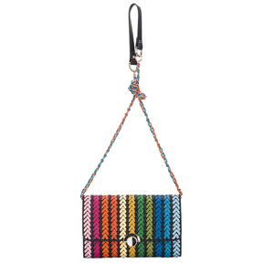On-Lines Real Leather Woven Long Handle Shoulder Bag