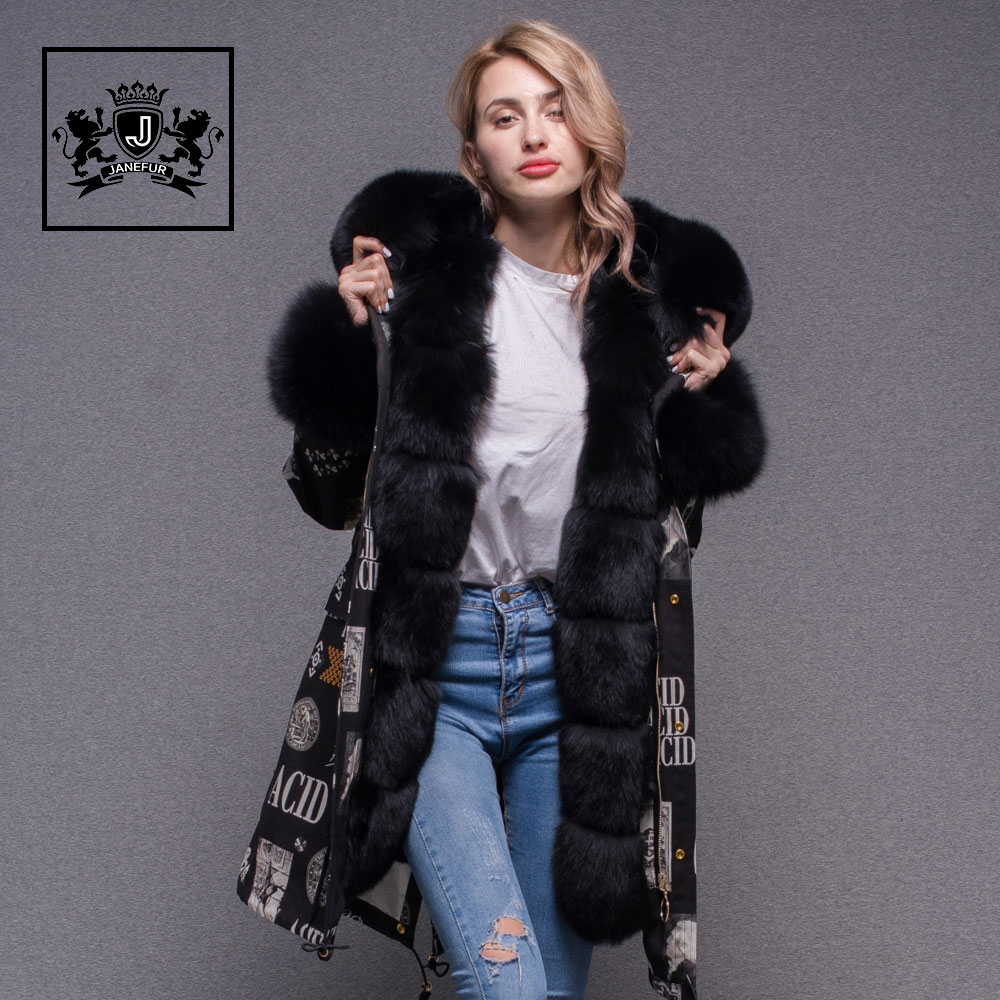 Fashionable Lady Winter Fur Fishtail Park Fox Fur Collar Coat Printed Real Rabbit Fur Lined Parka Jacket Women