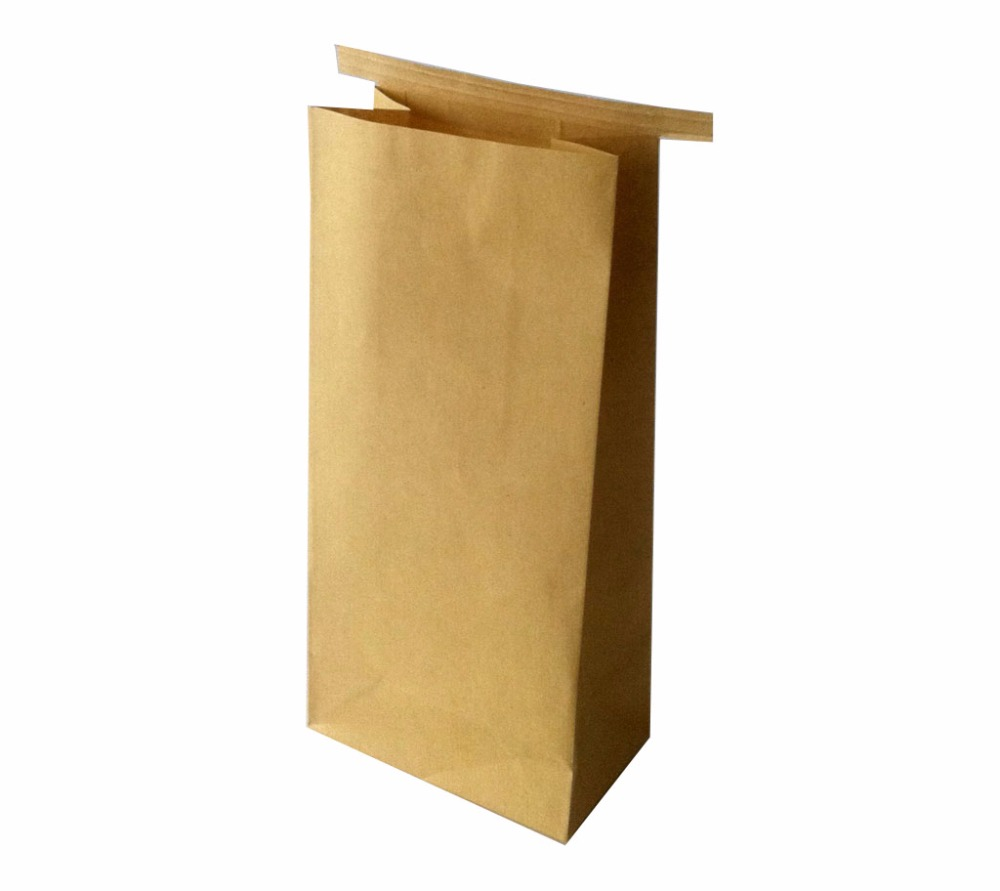 wholesale Eco-friendly food grade flat bottom brown tin tie kraft paper food bag for nuts packing