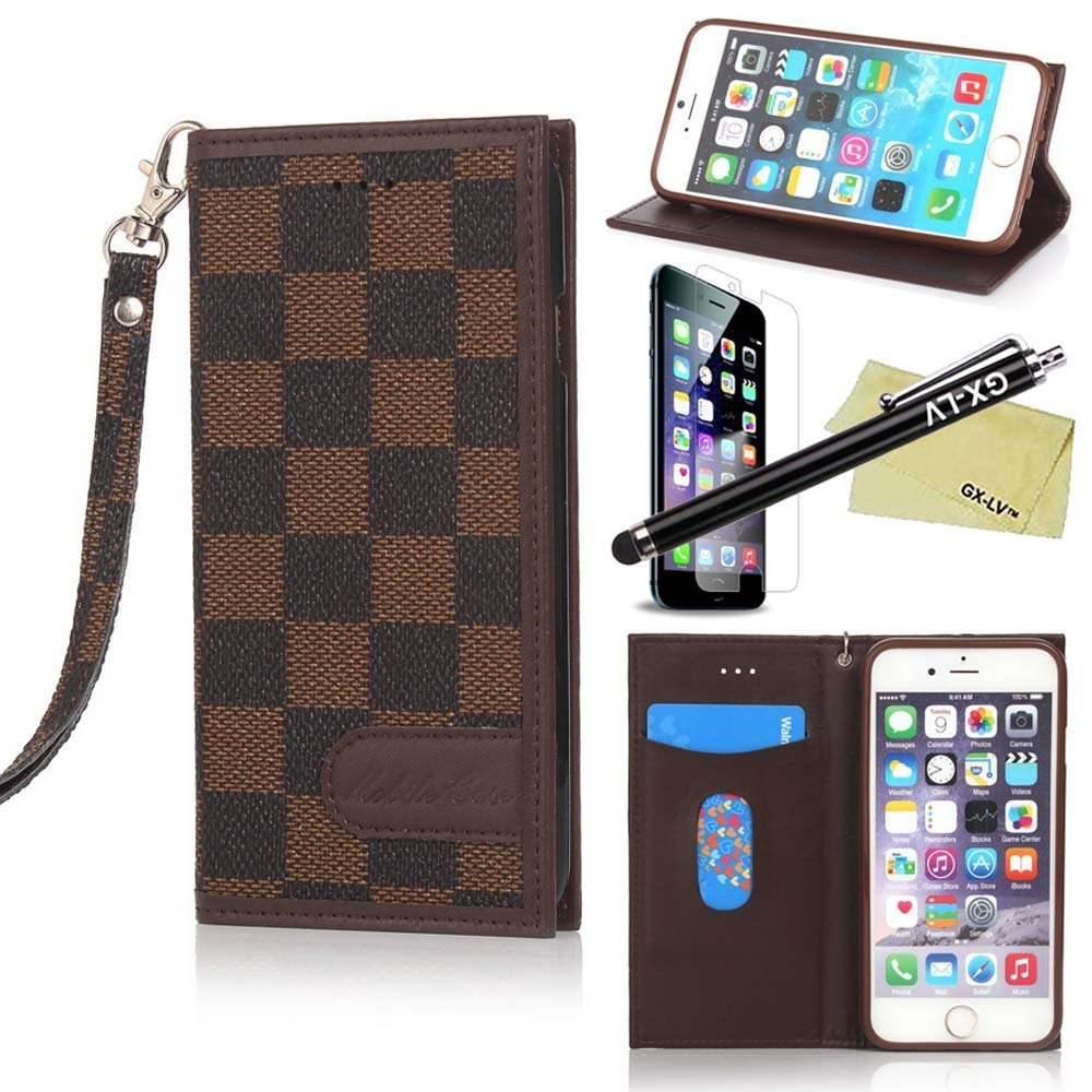 iPhone 6 Plus Case, iPhone 6 Plus Grid Wallet Case, GX-LV Newest Luxury Fashion Classic Grid Checker Checkered Plaid Pattern Designer Detachable Wrist Strap Flip Folio Magnetic Closure Slim Leather Wallet Card Slot Case Cover for Apple iPhone 6 Plus 5.5 inch, Free 1 GX-LV Screen Protector and 1