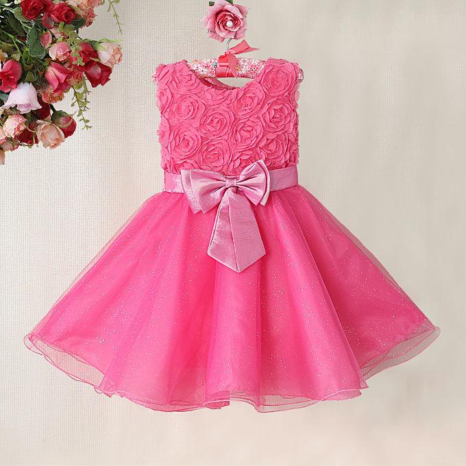 4ad16468b41676f Розовые праздничные детские платья с бантом Вечерние пышные с розами платья  для девочки и принцесс