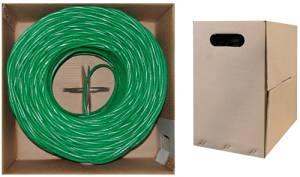 C&E 1000 feet CAT 6 23AWG 4PR UTP Plenum Solid Ethernet Cable CMP Rated Green