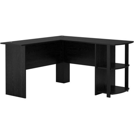 Wooden L-Shaped Desk with Large Workspace with Side Storage for Easy Access of Materials, Multiple Finishes ( L: 53.62 x W: 51.31 x H: 28.31 in) (Black Ebony Ash)