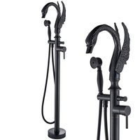 ORB Black Carved Swan Bath Tub Faucet Floor Mount Bathtub Mixer Tap Free Standing Hot and Cold Bath Shower Set Brass Handshower