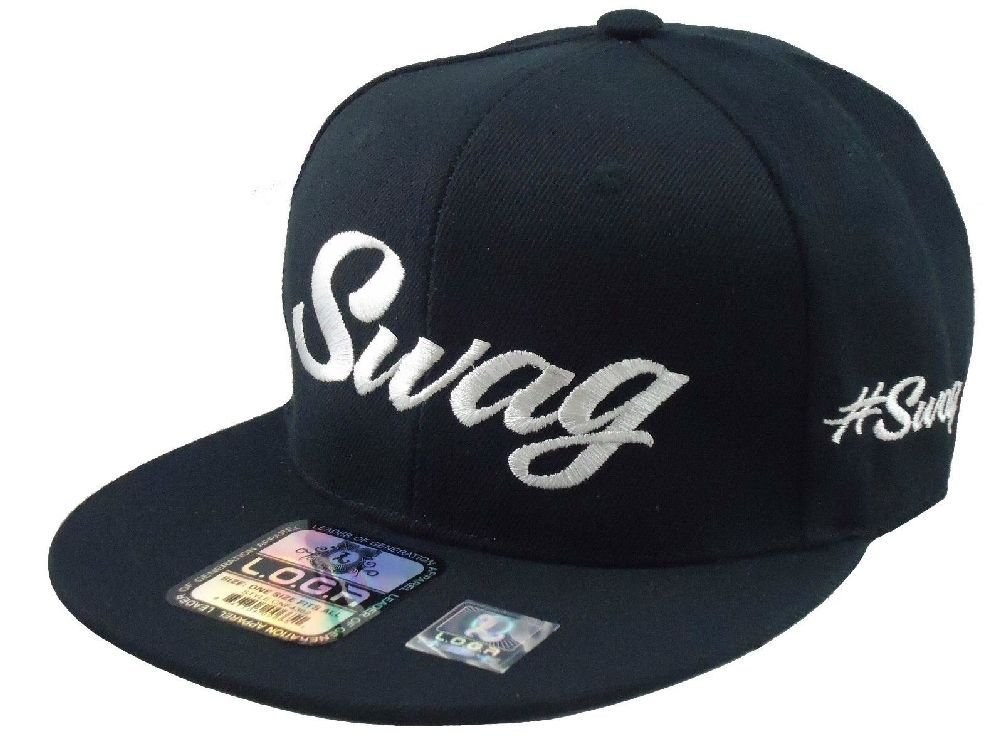 New Swag Adjustable Snapback Hat Hip Hop Flat Bill Baseball Hats Black fa2e183e9575
