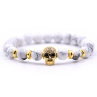 8mm Punk Pave Setting Zircon Gold Skull Heads Colorful Stone Bracelet