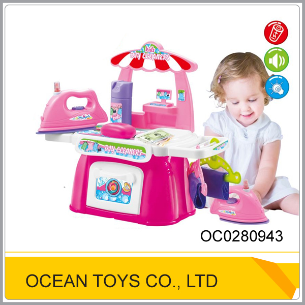 Pretend kids playing dry cleaner toy washing machine with light and music OC0280943