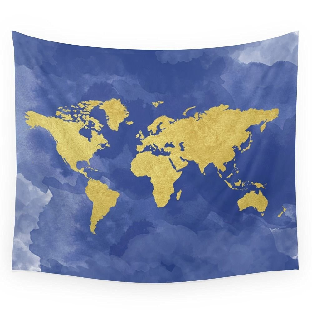 Cheap world map gold find world map gold deals on line at alibaba get quotations society6 gold navy world map elegant gold foil nursery wall tapestry small gumiabroncs Images