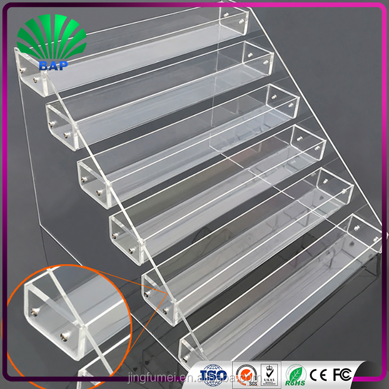 Clear acrylic cigarette display stand customize levels cigarette holder