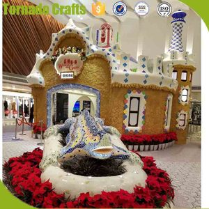 life size shopping mall promotion statue Christmas artificial fiberglass tree house decoration/tree house statue
