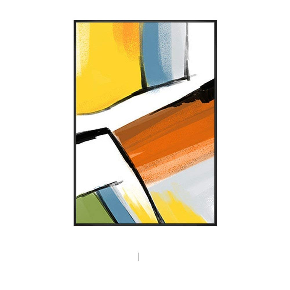 PLLP Modern minimalist yellow hanging painting, geometric abstract color mural painting, living room triple decorative painting, gold line restaurant wall painting