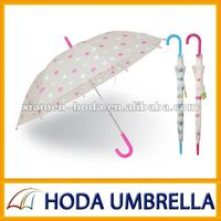 "2012 new style 21""X8K automatic open straight POE/PVC umbrella with round dot printing"
