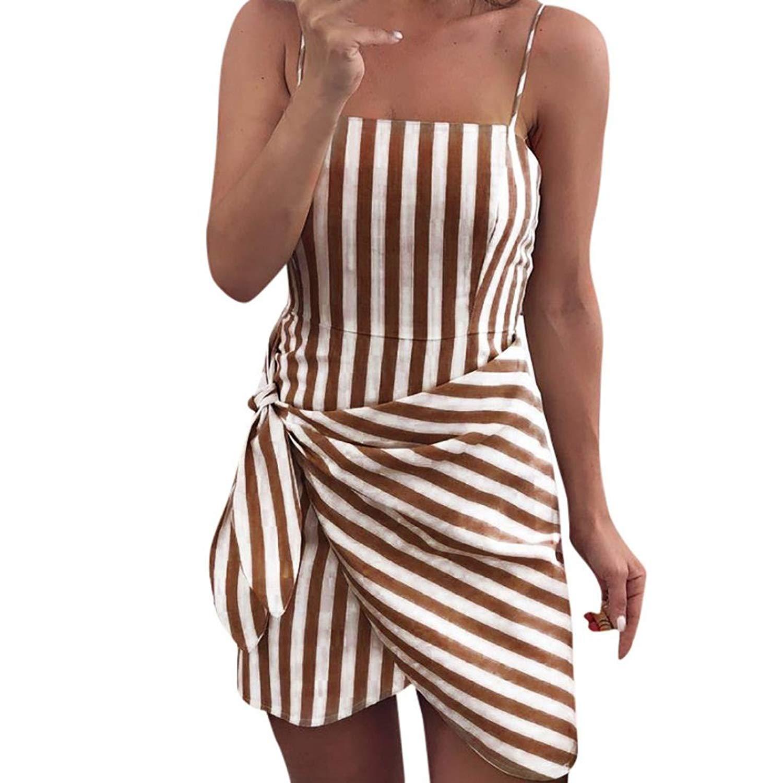 SERYU SummerDressesforWomen Sleeveless Bowknot Striped Dress Ladies Mini Bowknot Party Dress