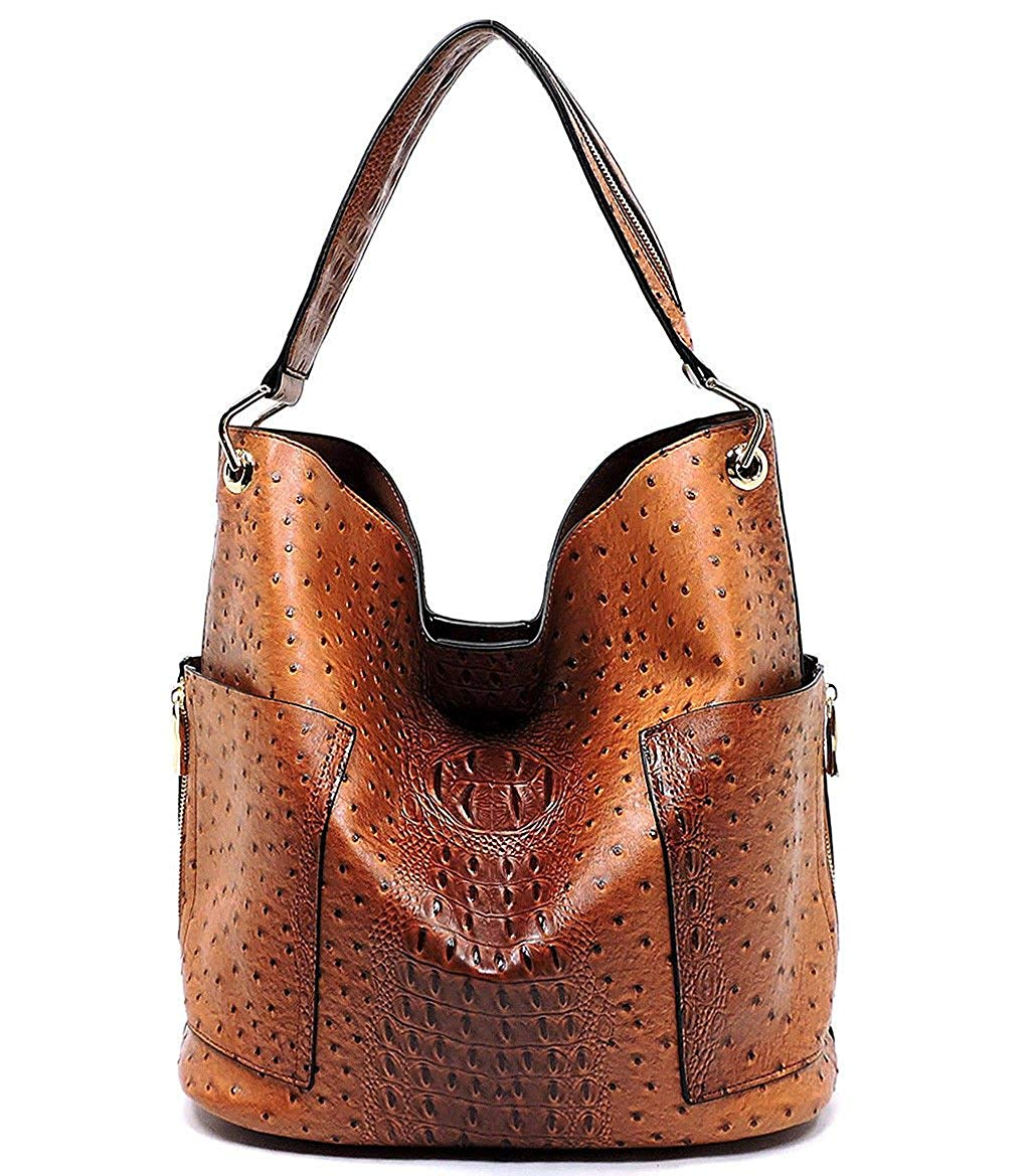 d021734177e4 Get Quotations · Handbag Republic Ostrich Embossed Side Pockets Tote  w Inner Bag Crossbody