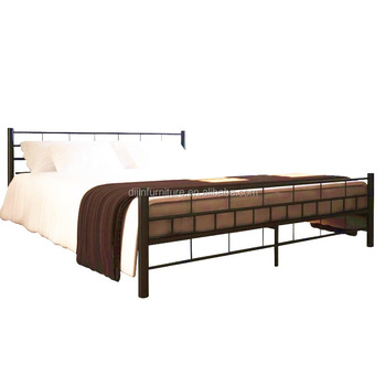 King Size Metal Frame Bed Modern Wooden Footing Black Solid Base ...