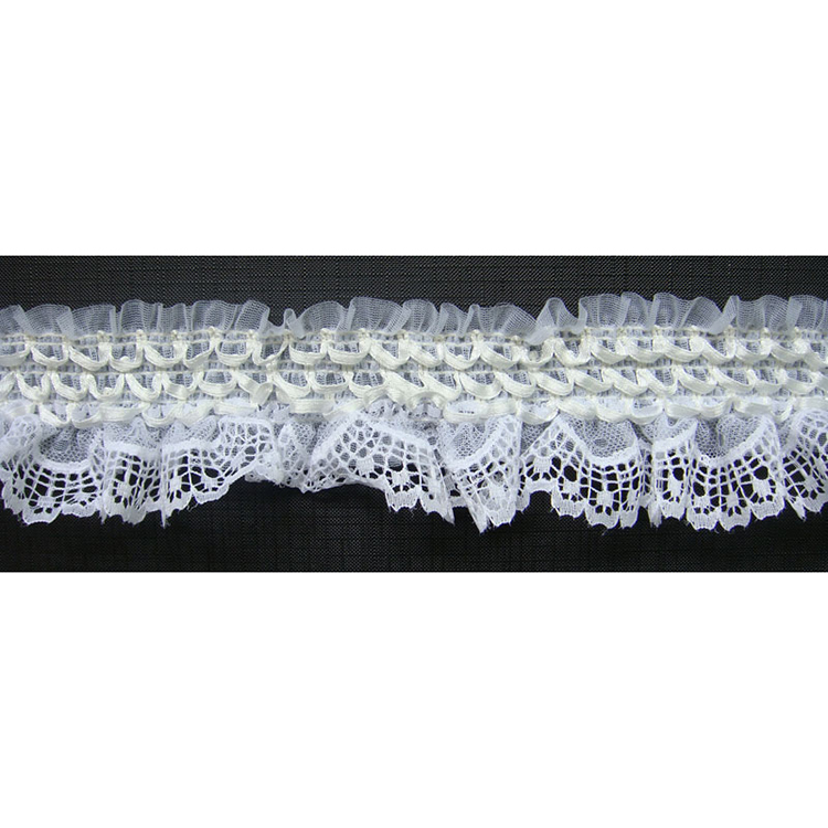 Fashion spandex mesh trim decorated with elastic fabric for women ruffle organza trim