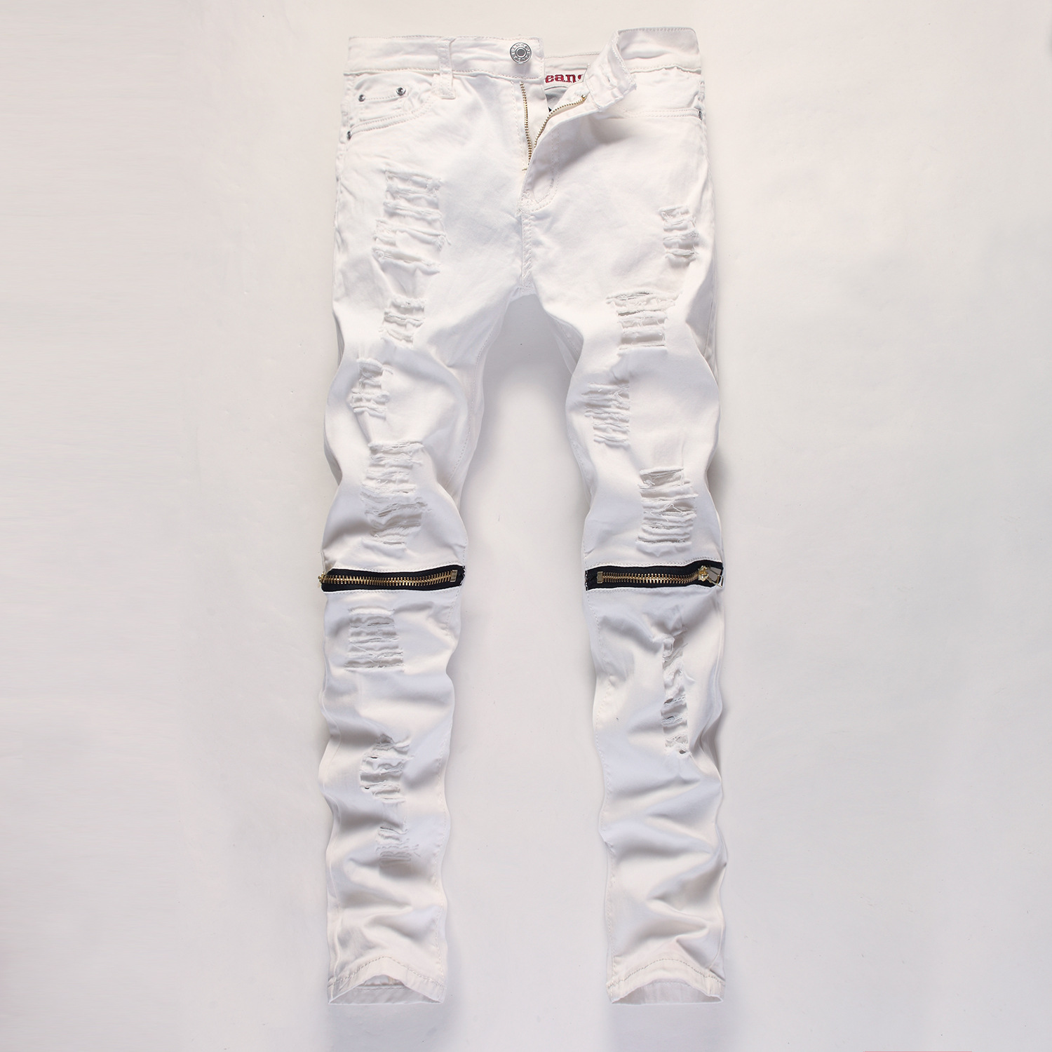 d408c2fc197 Fashion Men's Ripped Hole Denim Jeans White Black Red Desinger Slim Fit  Contrasted Jeans Men Distressed Jeans Pants | The Bargain Paradise