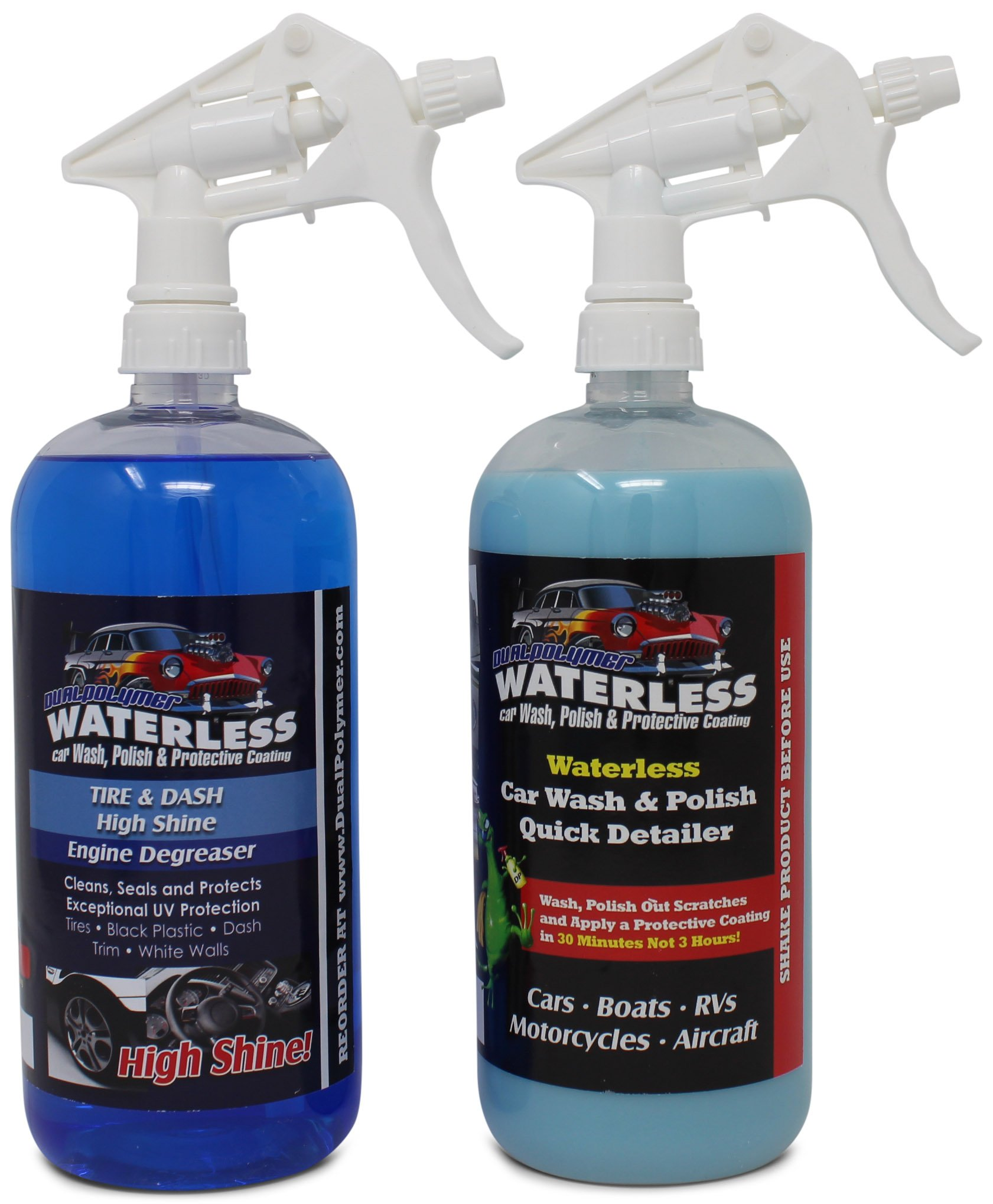 DualPolymer Waterless Car Wash and Tire and Trim Shine Full Car Care Detail Kit   Made in USA   Microfiber Towels Included