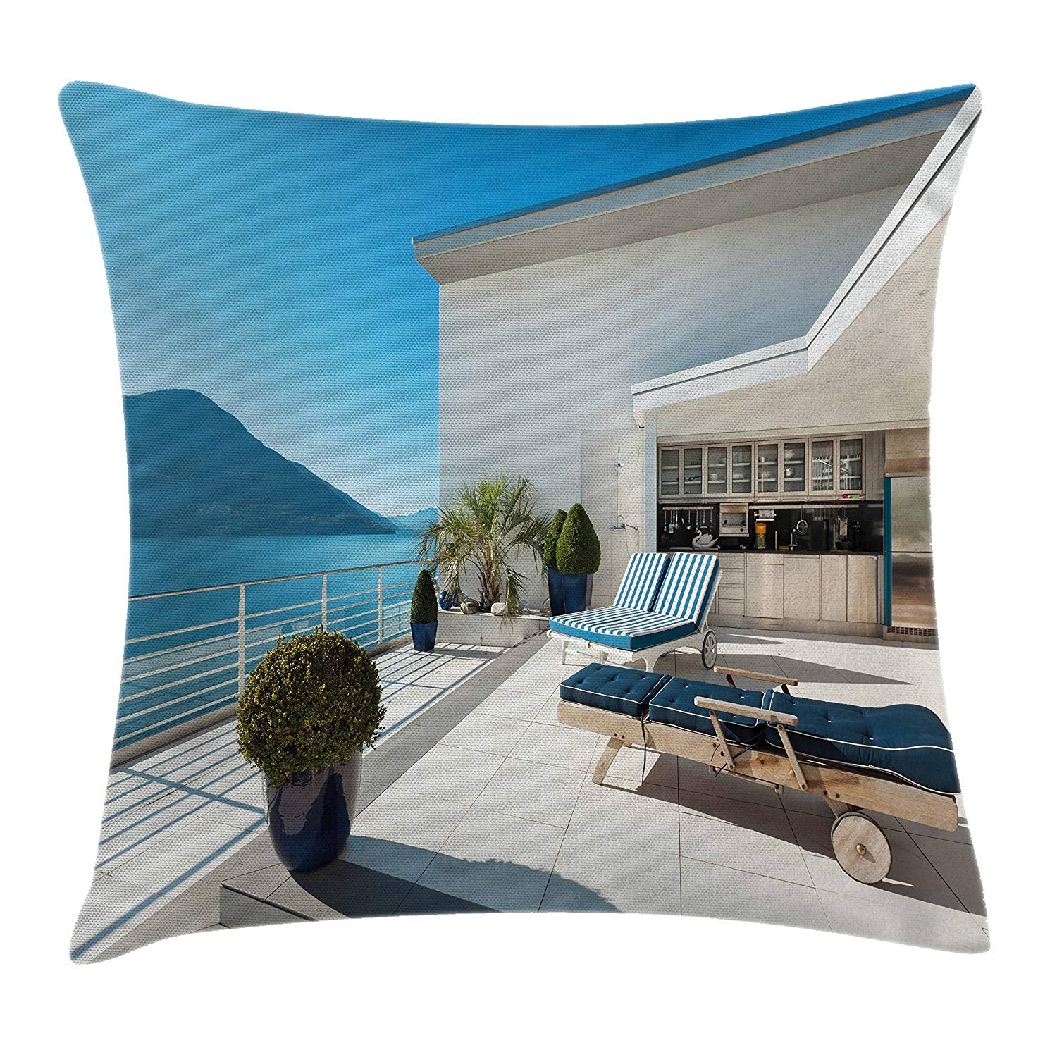 Modern Throw Pillow Cushion Cover by Lunarable, Contemporary Apartment with Veranda Ocean Modern House Empty and Serene, Decorative Square Accent Pillow Case, 26 X 26 Inches, White Dark Blue Blue