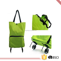 Cheap Polyester Folding Shopping Grocery Trolley Bag With Wheels