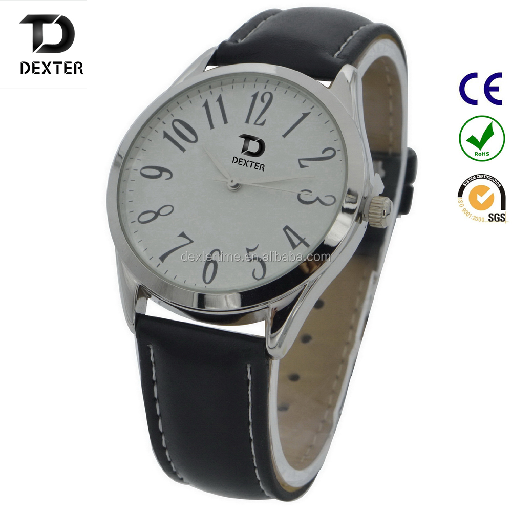 Custom charming christmas promotion gift wristwatch genuine leather watch wholesale watches men