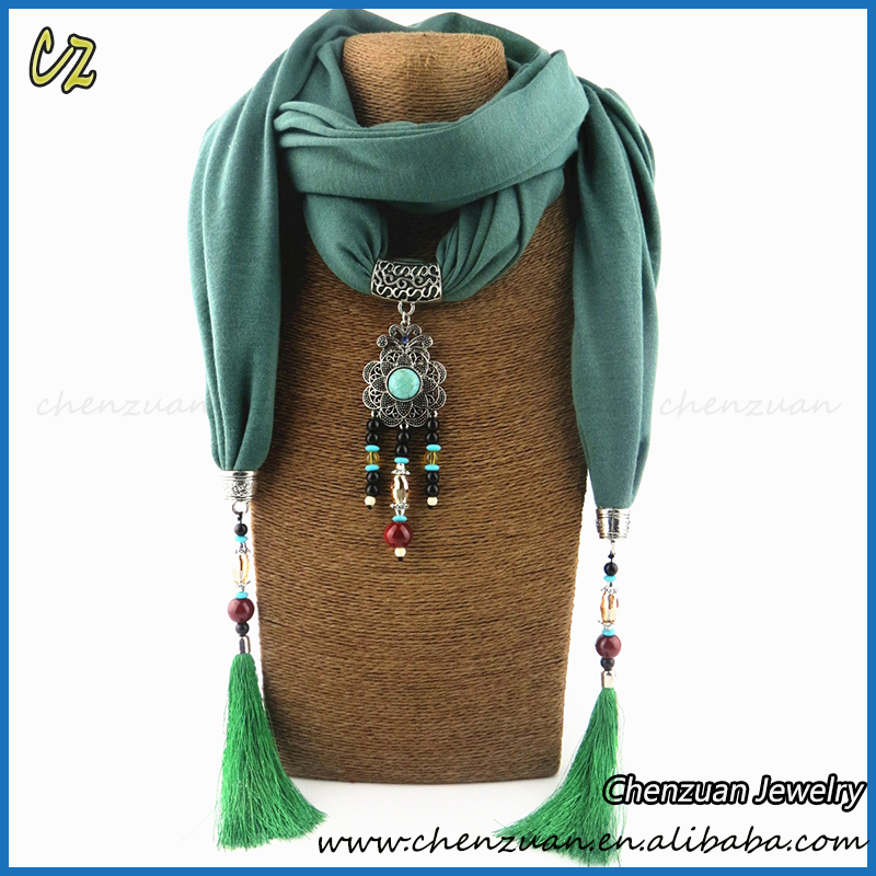 Alibaba top seller fashion jewel beads pendant Tassels Long Scarves Shawl Wraps