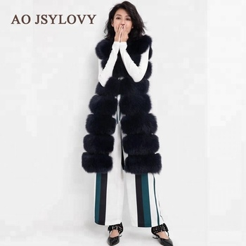 Whole fox skin fashion style fox fur vest long black fur gilet for ladies