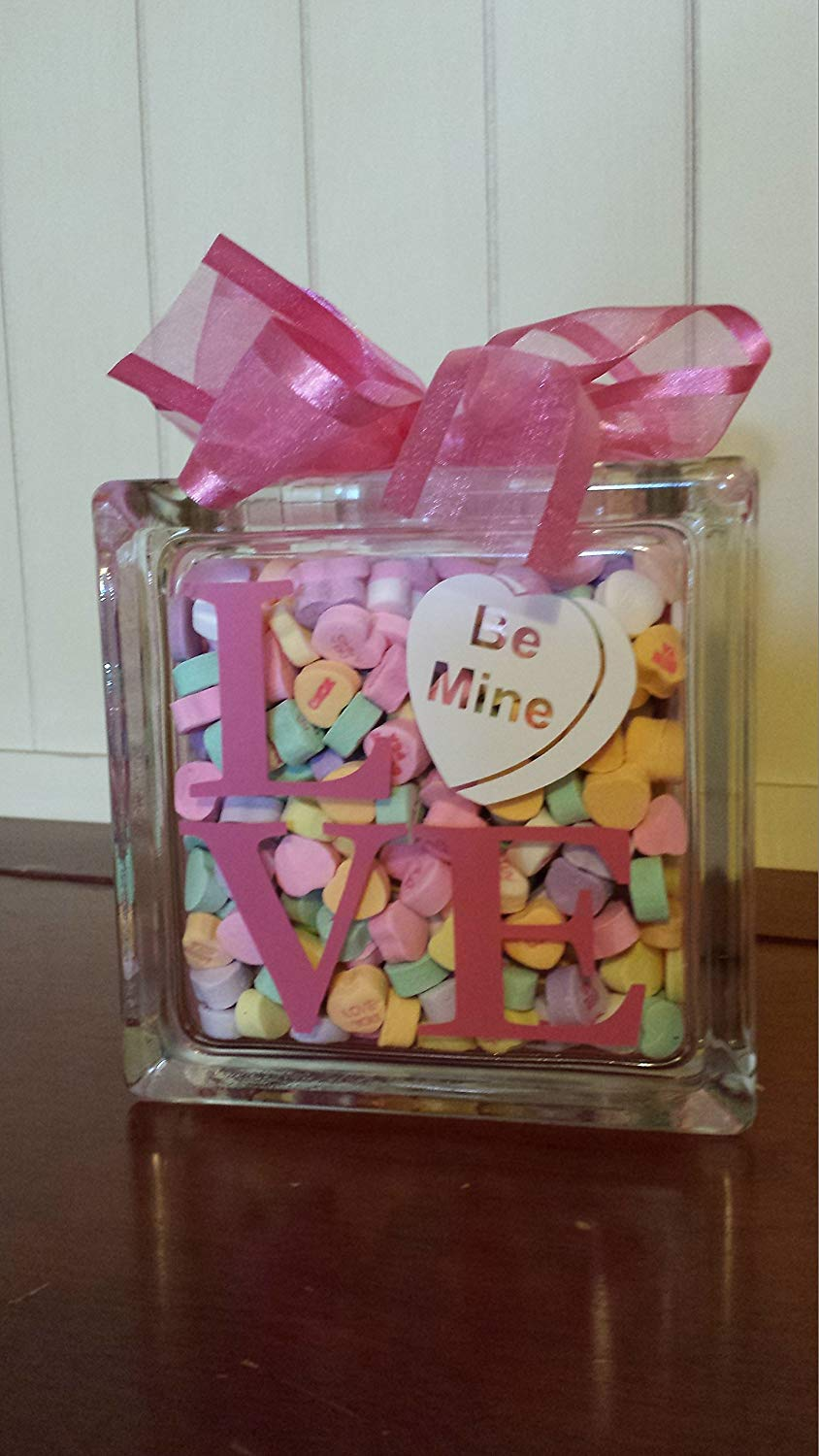 "6x6"" Valentine's Day Glass Block with vinyl lettering filled with sweetheart candy, Love, Be Mine, Valentine's Day Gift"