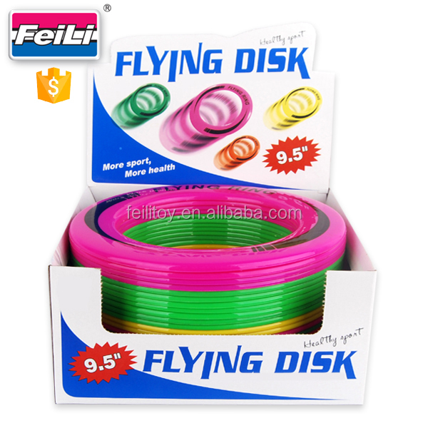 outdoor toys for kids 9.5'' round colorful plastic frisbee flying ring disc