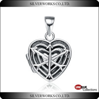 Cupid Antique Silver Locket Pendant heart and arrow prayer box 925 sterling silver
