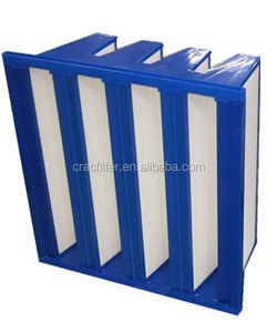 Blue color plastic frame V-type F9 Air Filter made in China