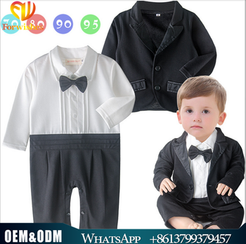bf13b83c9fc Wholesale spring fall clothing newborn infant toddler blazer+long sleeve romper  2pcs set 18M baby