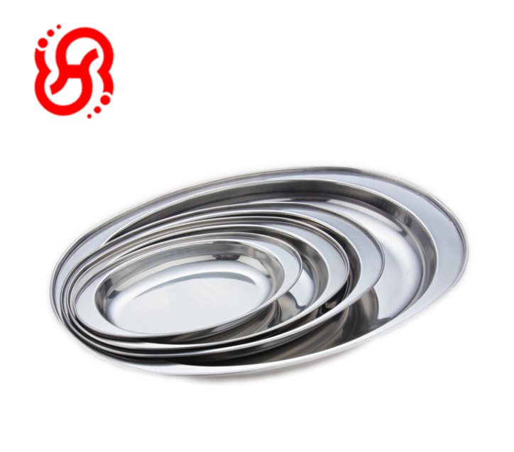 Low Price Stainless Steel BBQ Trays Deep Oval Lunch Tray Wholesale Serving Trays
