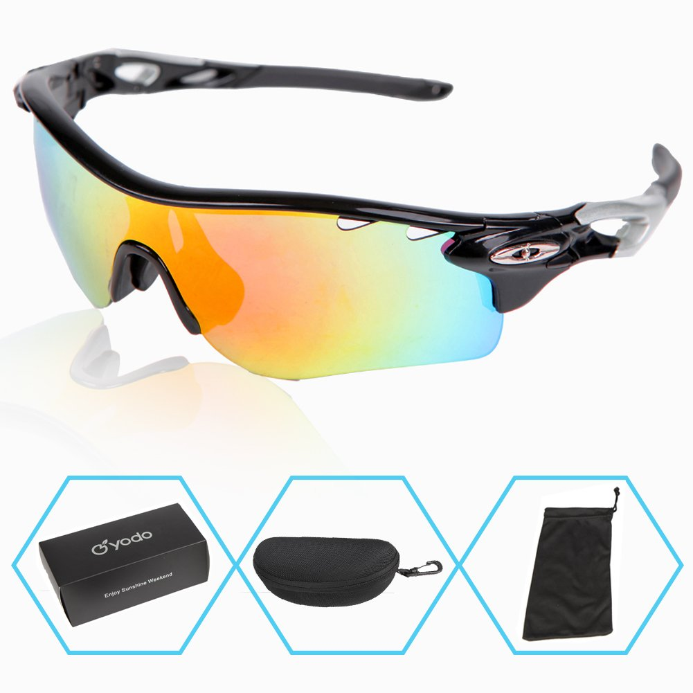 c6a1b5462fb Get Quotations · Yodo Sports Sunglasses with Prescription Insert for Men  Women Cycling Glasses