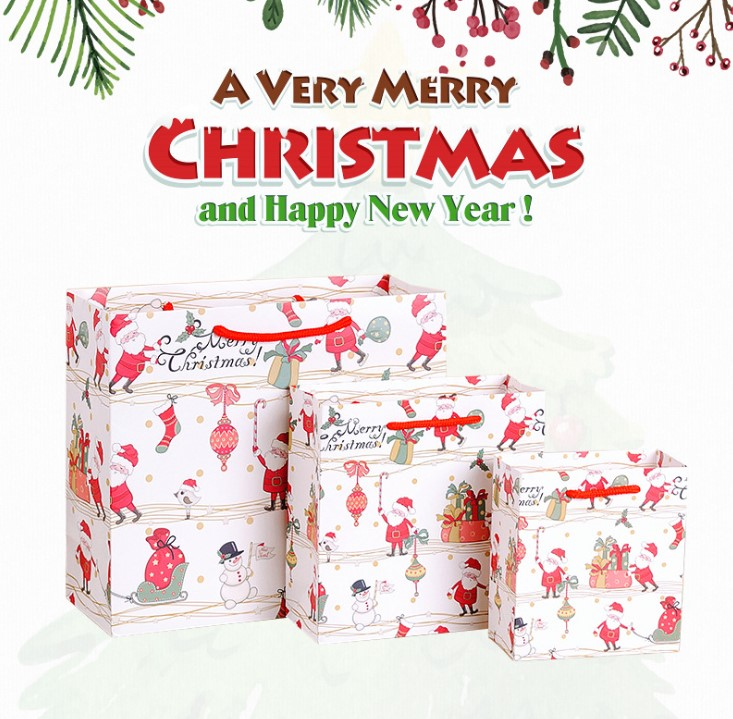Party Gift Bag Factory Customized Paper Bag White Cardboard Shopping Christmas Paper Bag