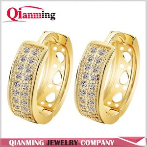 24K Gold Plated Cubic Zirconia Round Hoop Earrings Gold Filled Clear Hoop Earring Ear Piercing Machine Crew Jewelry