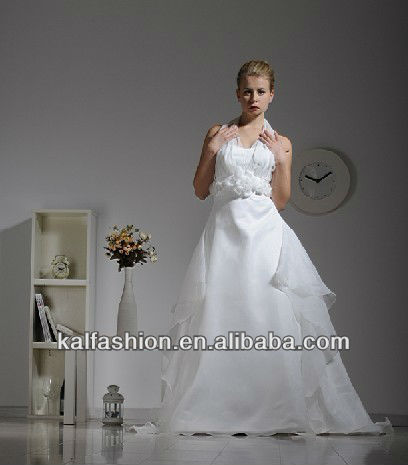 EB1257 Chiffon brace V-neck one piece dress with train chiffon wedding dress