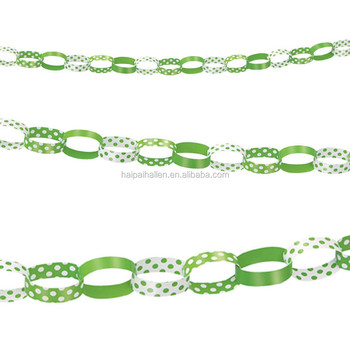 Green Polka Dot Paper Chain Garland Decorations Baby Shower Birthday