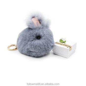 Bag Charm Car Pendant Key Ring Holder Cute Mini Fluffy Bunny Keychain Rex  Rabbit Fur Key 92688639c9ea