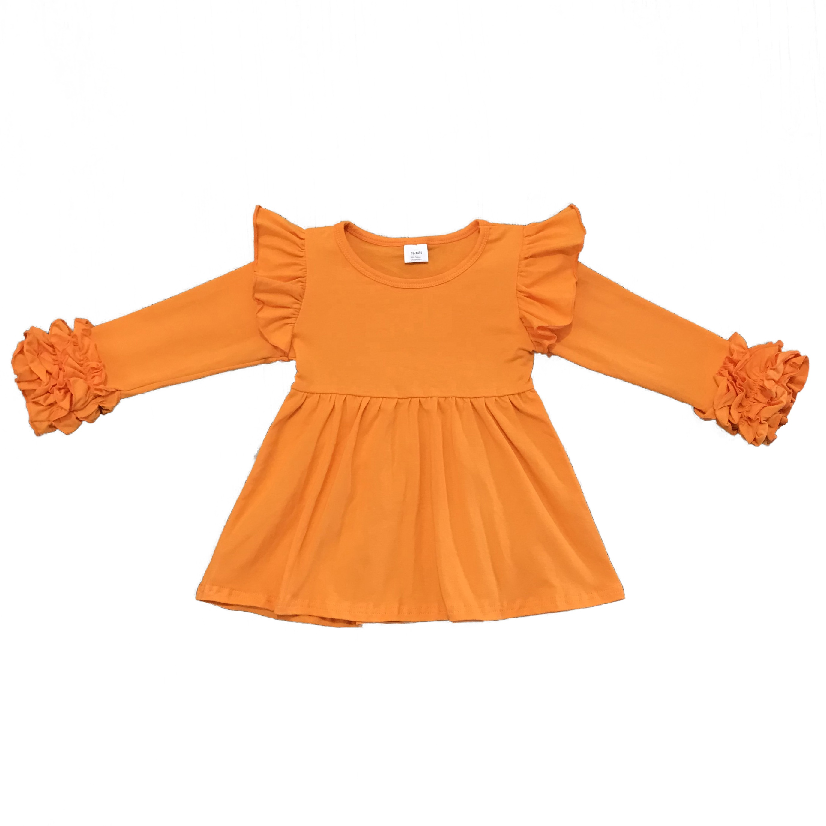 High quality long sleeve dress little girl <strong>cotton</strong> <strong>baby</strong> girl dress solid color autumn dresses