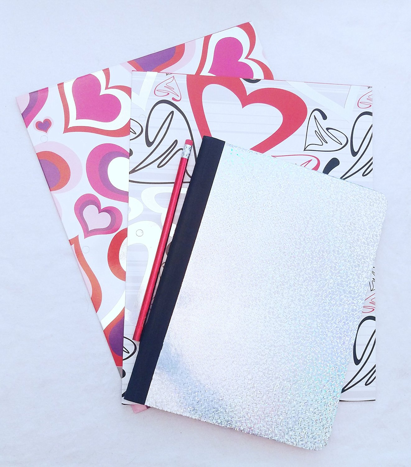 Glam Hearts Metallic Two-Pocket Folder and Holographic Glitter Notebook Set