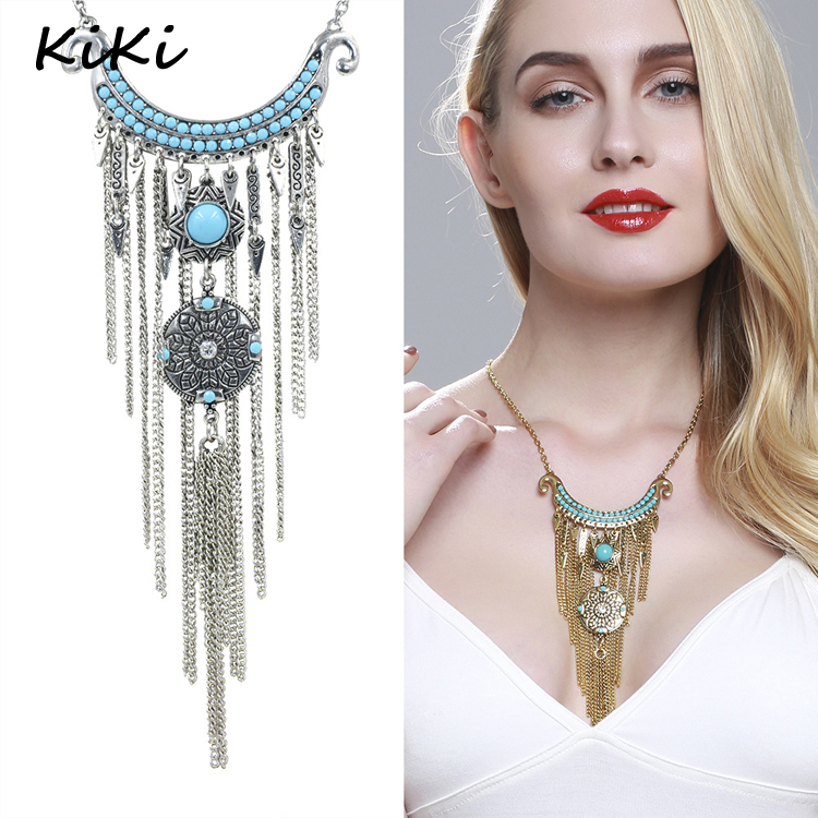 >>>2017 Bohemia Vintage Jewelry Silver Coins Pendants Necklaces Multilayer Tassel Necklace For Women