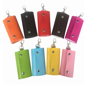 Women Man Portable PU Leather Key Holder Organizer Wallet Case 6 Key Chains Rings