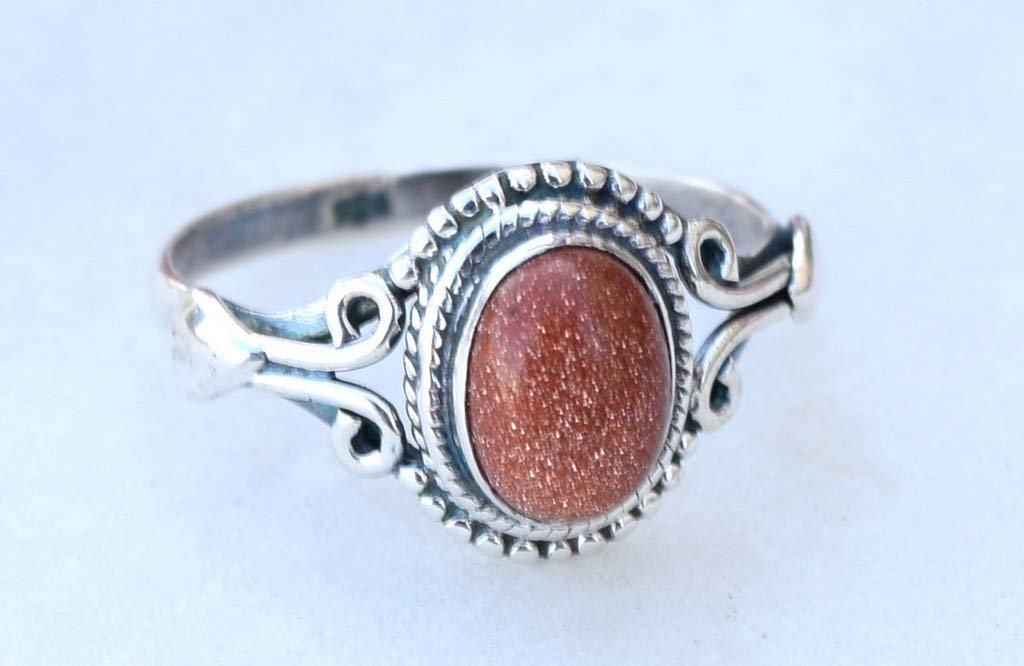 Size 7 Beautiful Black Sunstone  Ring