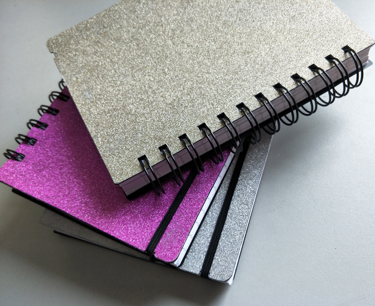 Hot sale spiral diary notebook glitter cover elastic band closure notebook